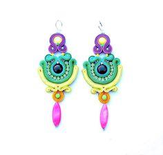 Dangle Earrings Soutache Earrings with Beads by StudioGianna, $69.00