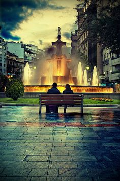 Granada, This was the romantic fountain. Every time I passed it there was always a couple sitting there looking so in love :). Spain