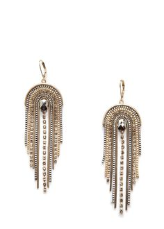 Half-moon earrings embellished with chains and crystal embellished cascading straps and hook fastening. Moon Earrings, Seed Bead Earrings, Fringe Earrings, Earrings Handmade, Women's Earrings, Tassel Jewelry, Beaded Jewelry, Jewellery, Bead Embroidery Jewelry