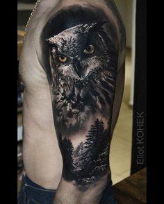 Black Owl Tattoo, Mens Owl Tattoo, Black And Grey Tattoos, Kunst Tattoos, Maori Tattoos, Sleeve Tattoos, Trendy Tattoos, Tattoos For Guys, Cool Tattoos