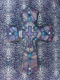 "Beautiful extra large mosaic cross-custom order ""Eye of the Tiger"""