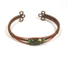 Cream Base Green and Brown Lampwork Copper Wire Woven Cuff Bracelet