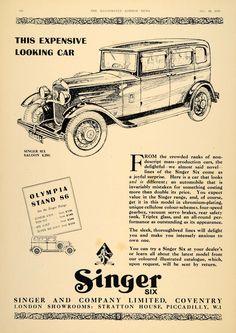 1930 Ad Vintage Singer Six Saloon British Car Antique - ORIGINAL ADVERTISING LN1