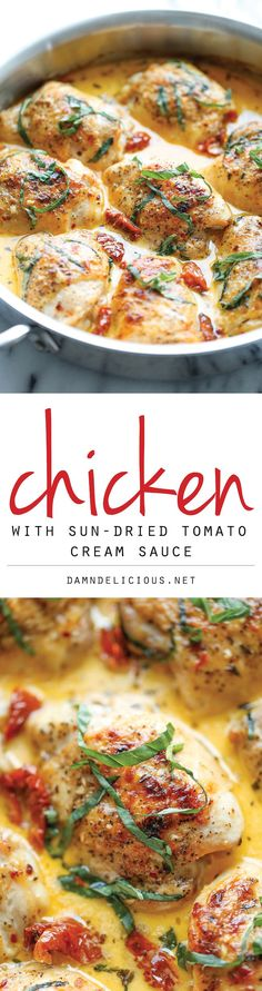 Chicken with Sun-Dried Tomato Cream Sauce - Crisp-tender chicken in the most amazing cream sauce ever. It's so good, you'll want to guzzle down the sauce!