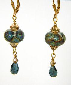 Blue Lampwork Bead Swarovski Crystal Handmade Pierced Earrings | DoubleSJewelry - Jewelry on ArtFire