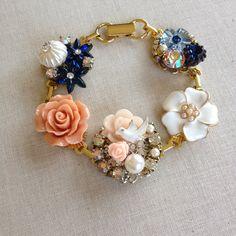 Blush navy white gold bridesmaid bracelet by ChicMaddiesBoutique