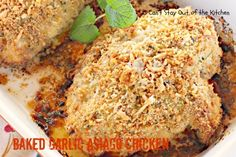 Baked Garlic Asiago Chicken - amazingly moist, tender and succulent chicken recipe. Quick and easy, too.