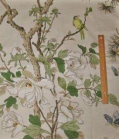 LEE JOFA G P & J BAKER BIRDS TREES PEONY LINEN FABRIC 10 YARDS CREAM SAND  MULTI