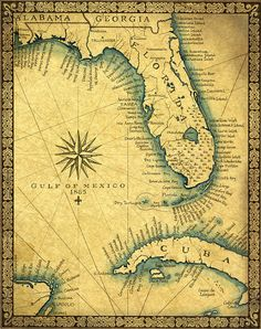 Florida Map Art Print c .1865, Old Florida Map With Cuba and the Gulf of Mexico, Miami South Beach and the Florida Keys to Key West Map