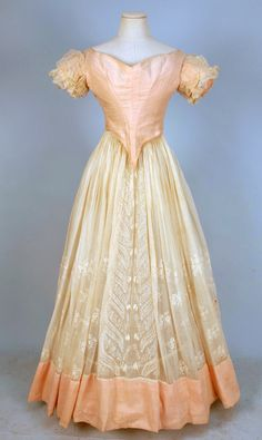 WHITEWORK EMBROIDERED COTTON and SILK DRESS, 1840's.