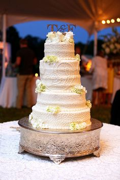 Beautiful Southern Textured White Wedding Cake