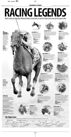 Belmont Stakes Racing Legends June 6, 2003. Featuring the 2003 contender, Funny Cide. Also pictured, Sir Barton 1919, Gallant Fox 1930, Omaha 1935, War Admiral 1937, Whirlaway 1941, Count Fleet 1943, Assault 1946, Citation 1948, Secretariat 1973, Seattle Slew 1977, Affirmed 1978 #BelmontStakes #HorseRacing