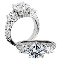 Jack Kel�ge. Click Here to View a Live Video of This Ring��Platinum engagement ring with round white diamonds, 1.35 carats total weight. Center stone not included.
