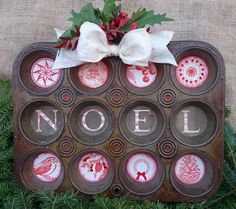 This is so cute! Love the use of the old muffin tin & holiday cutouts...Holiday Muffin Tin - Two Peas in a Bucket