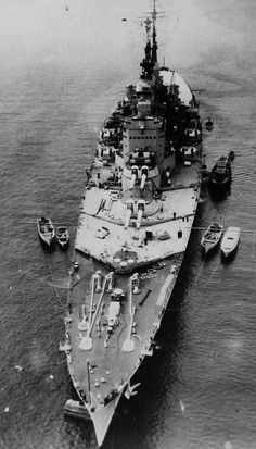 The Royal Navy's last battleship, HMS Vanguard (in fact the last completed anywhere: ordered as a 'one off' on the outbreak of war to make use of stored 15 in guns, but not completed until 1946 due to competing resource priorities.  She stayed in commission until 1960.