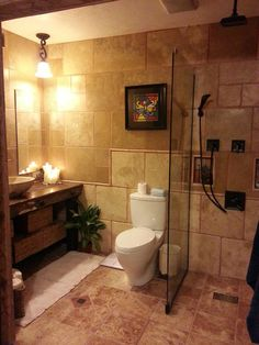 Lots Of Travertine In This Updated Bathroom All It Came From Knox Rail Salvage