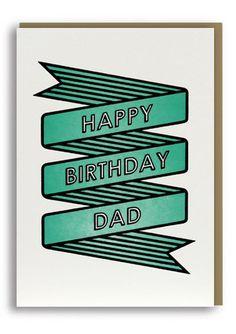 Happy Birthday Dad Letterpressed Greetings Card Sold in 6's