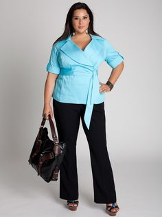 IGIGI by Yuliya Raquel Plus Size Exceptionnelle Jacket in Aqua Business Dresses, Business Outfits, Business Fashion, Plus Size Business Attire, Business Casual, Mega Fashion, Curvy Fashion, Plus Size Fashion For Women, Plus Size Women