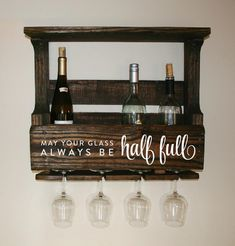 Reclaimed Pallet Wood Wine Rack Small — Personalized With Quote May Your Glass…