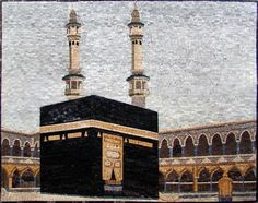 This is a hand-made marble mosaic of Islamic Icon. It is composed of all natural stones and hand cut tiles. shows The Kaaba also known as The Sacred House. It is a large cuboidal building located inside the mosque known as al-Masjid al-Haram in Mecca. Islamic Art Canvas, Islamic Paintings, Islamic Wall Art, Mecca Wallpaper, Islamic Wallpaper, Hd Wallpaper, Futuristic Architecture, Islamic Architecture, Gothic Architecture