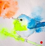 Bird On A Wire, original painting by artist Norma Wilson | DailyPainters.com