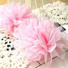2pcs 80mm Netting fabric flower sew on appliques by craftsutopia, $3.90