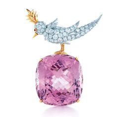 The Bird on a Rock brooch by Jean Schlumberger for Tiffany, diamond-encrusted paltinum with a cushion-cut- kunzite.
