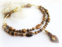 Tiger eye necklace two strand stone beaded by MalinaCapricciosa