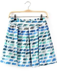 Blue Zipper Pleated Geometric Print Skirt US$20.33