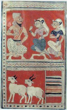 Maina addressing the master of the caravan. Manuscript Laur chanda. Circa 1450-1475. Pre-Mughal.