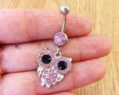 owl Belly Button Rings pink owl Navel Jewlery belly by MagicTrip, $6.99