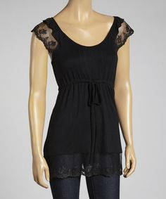 Another great find on #zulily! Black Lace Cap-Sleeve Top #zulilyfinds