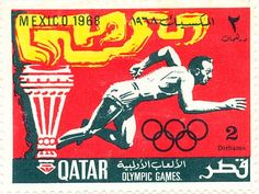Qatar stamp: Olympic Games, Mexico. 2 Dirhams