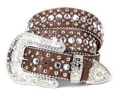 Brown Bling Western Leather Rhinestone Buckle Cowgirl Belt Small Medium L XL | eBay   i got the same one!!