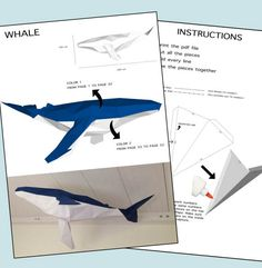 Low Poly XXL Whale Model Create Your Own 3D Papercraft Origami Blue Wall Hanging Eburgami