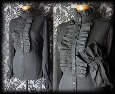 Gothic Black Frilled Bib VICTORIAN GOVERNESS High Neck Blouse 8 10 Steampunk - £29.00