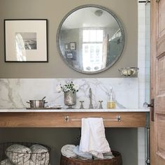 From @oldsilvershed via Instagram. Floating counter, towel bar. Storage elsewhere in built in or armoire.