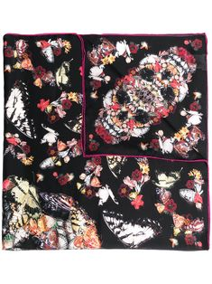 Black/multicolour silk butterfly-print silk scarf from Alexander McQueen featuring butterfly print, rolled trim and finished edge. Butterfly Print, Alexander Mcqueen Scarf, Silk, Black, Products, Fashion, Moda, Black People, Fashion Styles
