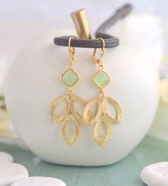 Mint Dangle Earrings in Gold. Mint Leaf Drop Earrings.  Mint Jewelry. Bridesmaid Earrings. Gift for Her. . by RusticGem on Etsy https://www.etsy.com/listing/187767461/mint-dangle-earrings-in-gold-mint-leaf