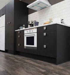 Melamine Door in Charred Oak Kitchen Reno, New Kitchen, Skirting Boards, Architrave, Reno Ideas, Kitchens, Doors, Home Decor, Decoration Home