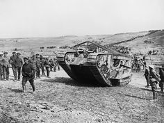 """The Battle of Flers-Courcelette, part of the Somme offensive beginning Sept. 15, 1916, saw the very first use of tank in warfare. The British Army's Mark I, or """"D1"""" (pictured below), was involved in the battle. Although it undoubtedly contributed to the Allied forces' success, mechanical failures limited its effectiveness. World War One, First World, Ww1 Tanks, Tank Warfare, Ww1 Photos, Ww1 History, Battle Of The Somme, Wwii, Black Watches"""