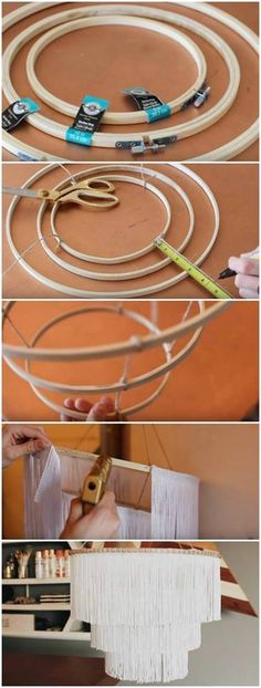Make a chic lampshade of hoops and threads