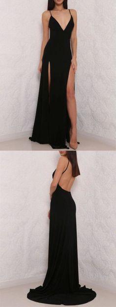 Sexy Black Spaghetti Strap Prom Dress,V neck Prom Dress,Open Back Prom Dress with Side Slit,Woman Formal Dresses,Long Party Dress,Simple Prom Dresses #Women'sFormal