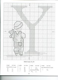 Schema punto croce Alfabeto Bimbi Y