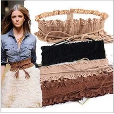 Fashion Hollow Fringed Thin Slim Skinny Belt Elastic Waist Belts Waistband for Women Girls