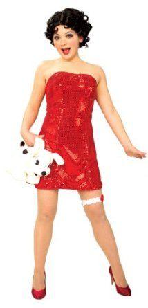 Betty Boop Costume With Wig   Jump out of the cartoons and into his heart ass Betty Boop complete with this shiny red dress and signature hair-style wig. Officially licensed costume from Rubie's, the leader in dress-up fun for all ages and occasions.    Jump out of the cartoons and into his heart as betty boop, complete with shiny...