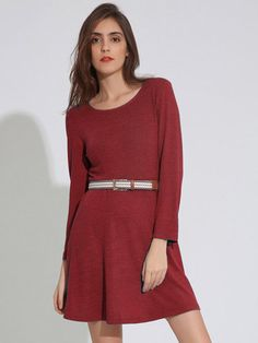 Women Casual Pure Color Long Sleeve A-line O-Neck Mini Dresses - Newchic Mobile.