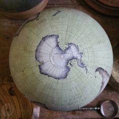 Bellerby & Co Globemakers London : Antarctica : Bottom of a Globe : Handcrafted : Handpainted : Pistachio Green