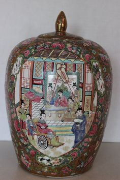 Large Antique Chinese Famille Rose Jar w Mark by Calessabay