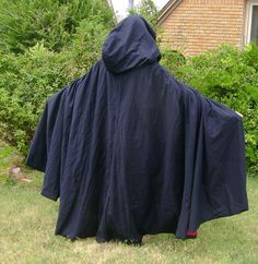 Black Cloak with Red Lining, Medieval, vampire, renaissance, cosplay, role playing, cape, cloak